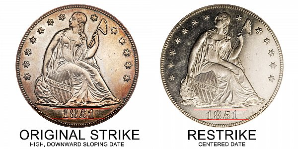 1851 Original Strike vs Restrike Seated Liberty Silver Dollar - Difference and Comparison