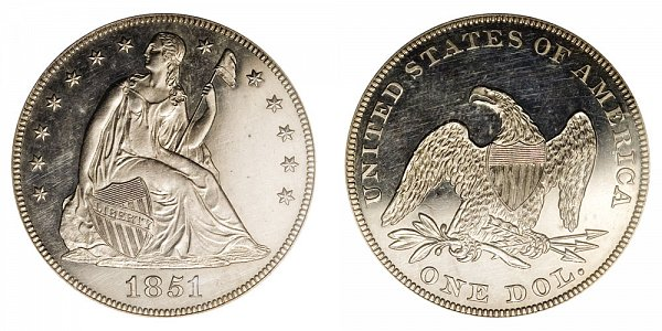 1851 Seated Liberty Silver Dollar Restrike - Centered Date