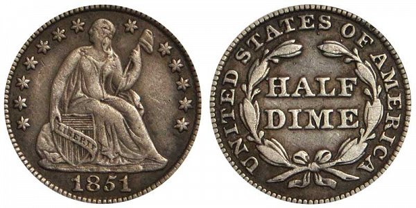 1851 Seated Liberty Half Dime