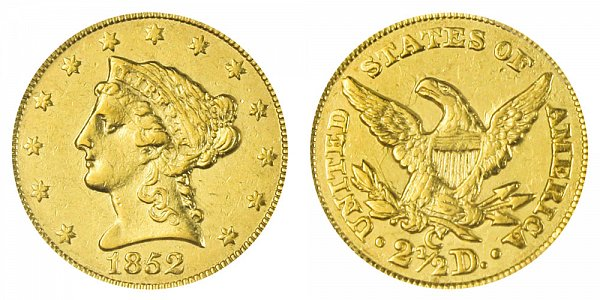 1852 C Liberty Head $2.50 Gold Quarter Eagle - 2 1/2 Dollars