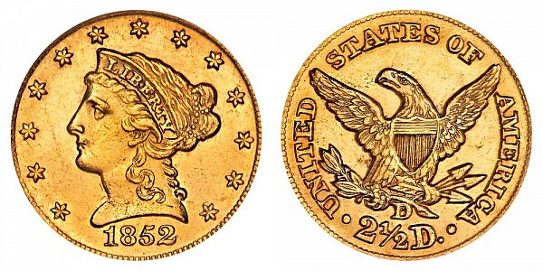 1852 D Liberty Head $2.50 Gold Quarter Eagle - 2 1/2 Dollars