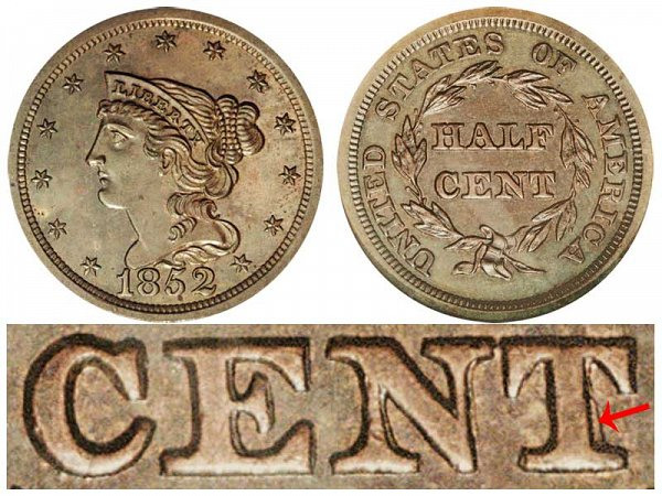 1852 Braided Hair Half Cent Penny - First Restrike