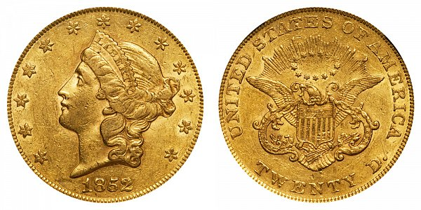 1852 Liberty Head $20 Gold Double Eagle - Twenty Dollars