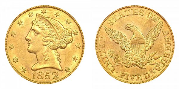 1852 Liberty Head $5 Gold Half Eagle - Five Dollars