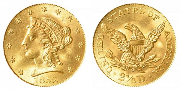 1852 Liberty Head $2.50 Gold Quarter Eagle - 2 1/2 Dollars