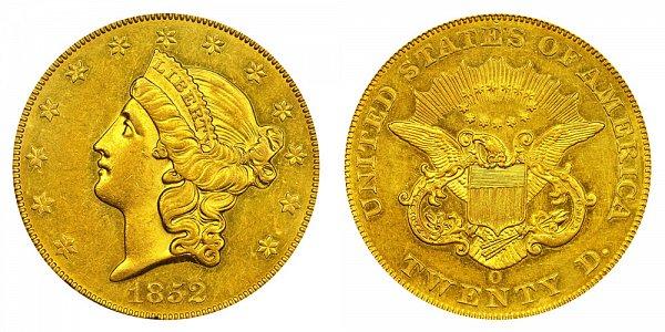 1852 O Liberty Head $20 Gold Double Eagle - Twenty Dollars