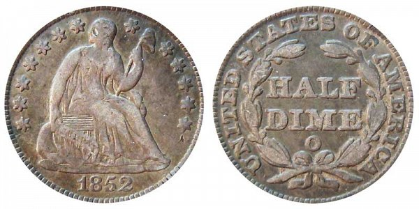 1852 O Seated Liberty Half Dime