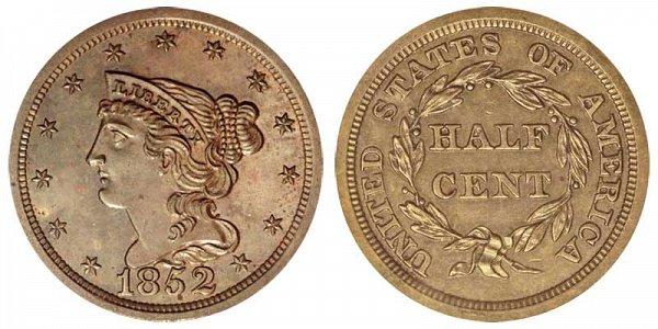 1852 Braided Hair Half Cent Penny - Original