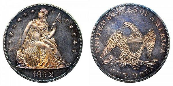 1852 Seated Liberty Silver Dollar - Original Strike