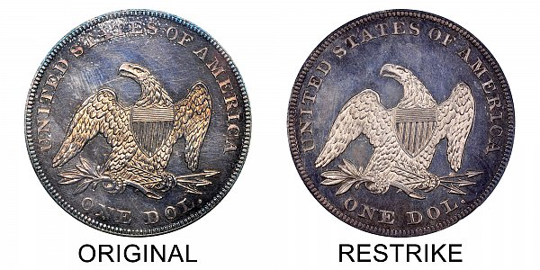 1852 Original vs Restrike Seated Liberty Silver Dollar - Difference and Comparison