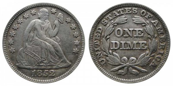 1852 Seated Liberty Dime