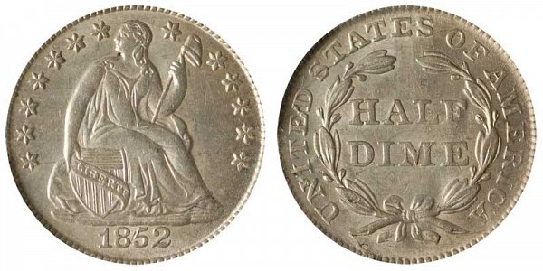 1852 Seated Liberty Half Dime