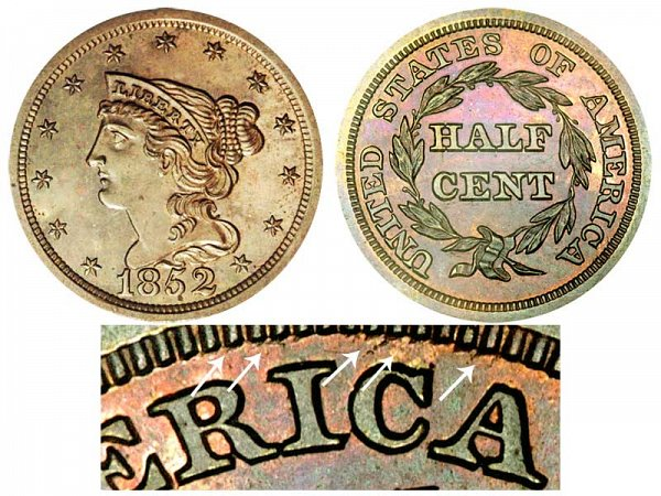 1852 Braided Hair Half Cent Penny - Second Restrike