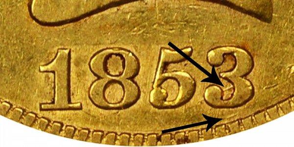 1853/2 Liberty Head Gold Eagle - 3 Over 2 Overdate - Closeup Example Image