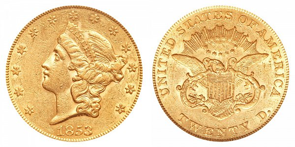 1853/2 Liberty Head $20 Gold Double Eagle - Twenty Dollars