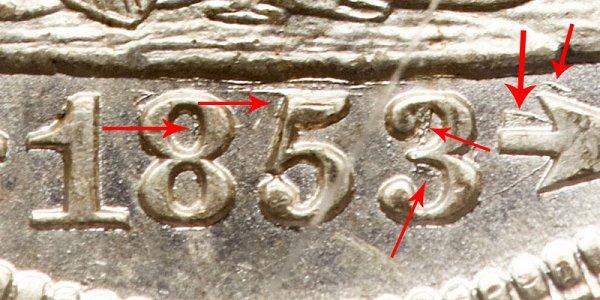 1853/4 Seated Liberty Quarter Overdate Error