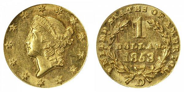 1853 D Liberty Head Gold Dollar G$1