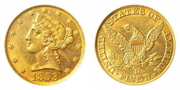 1853 D Liberty Head $5 Gold Half Eagle - Five Dollars