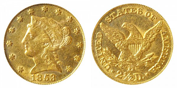 1853 D Liberty Head $2.50 Gold Quarter Eagle - 2 1/2 Dollars