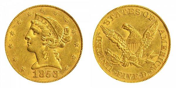 1853 Liberty Head $5 Gold Half Eagle - Five Dollars