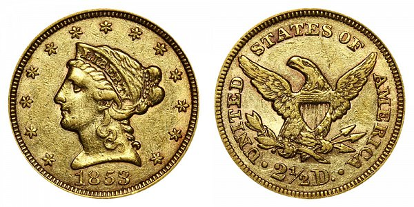 1853 Liberty Head $2.50 Gold Quarter Eagle - 2 1/2 Dollars
