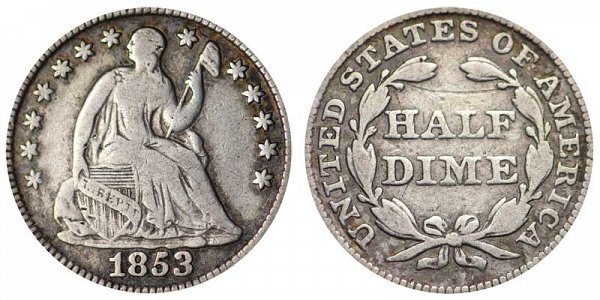 1853 Seated Liberty Half Dime - No Arrows