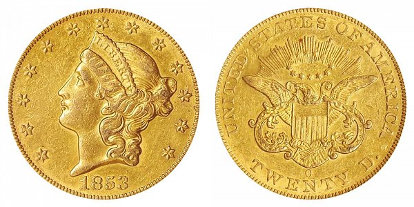 1853 O Liberty Head $20 Gold Double Eagle - Twenty Dollars