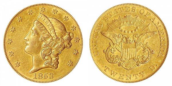 1853 O Liberty Head $20 Gold Double Eagle - Twenty Dollars