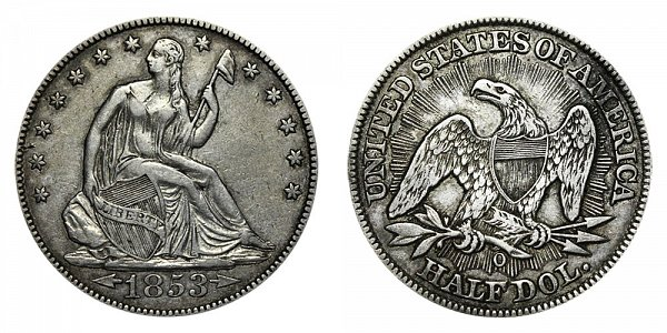 1853 O Seated Liberty Half Dollar - Arrows At Date - Rays on Reverse