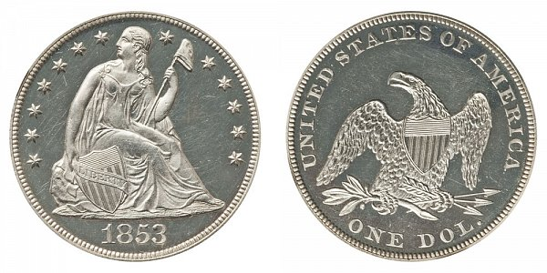 1853 Seated Liberty Silver Dollar