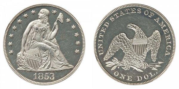 1853 Seated Liberty Silver Dollar