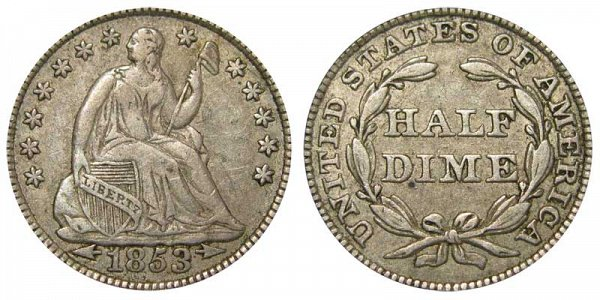 1853 Seated Liberty Half Dime - Type 3 With Arrows at Date