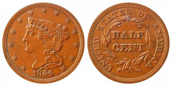 1854 Braided Hair Half Cent Penny