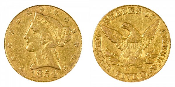 1854 C Liberty Head $5 Gold Half Eagle - Five Dollars