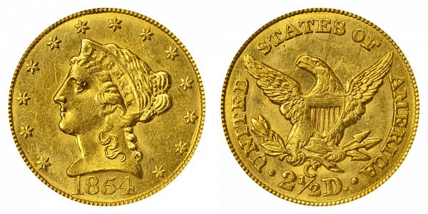 1854 C Liberty Head $2.50 Gold Quarter Eagle - 2 1/2 Dollars
