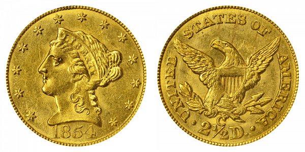 1854 C Liberty Head $2.50 Gold Quarter Eagle - 2 1/2 Dollars