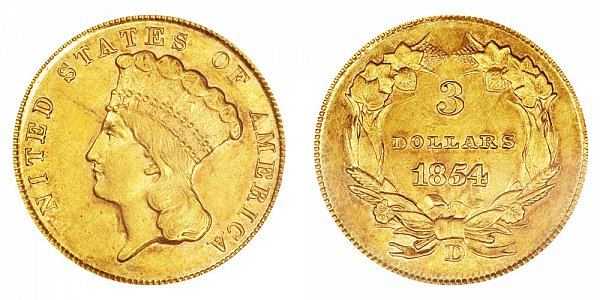 1854 D Indian Princess Head $3 Gold Dollars - Three Dollars