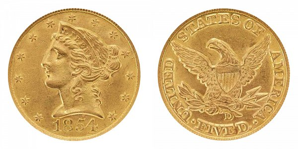 1854 D Liberty Head $5 Gold Half Eagle - Five Dollars