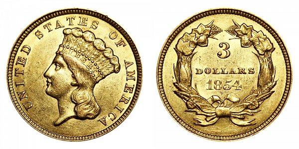 1854 Indian Princess Head $3 Gold Dollars - Three Dollars