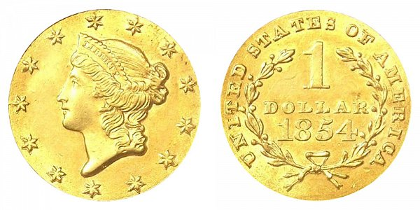 1854 Liberty Head Gold Dollar G$1