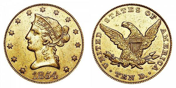 1854 Liberty Head $10 Gold Eagle - Ten Dollars