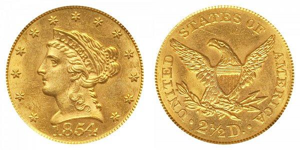 1854 Liberty Head $2.50 Gold Quarter Eagle - 2 1/2 Dollars