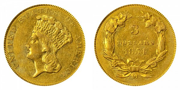 1854 O Indian Princess Head $3 Gold Dollars - Three Dollars