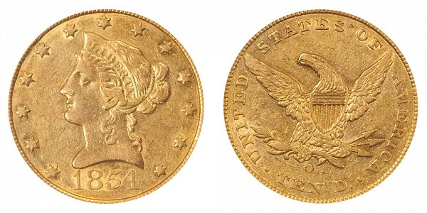 1854 O Large Date - Liberty Head $10 Gold Eagle - Ten Dollars