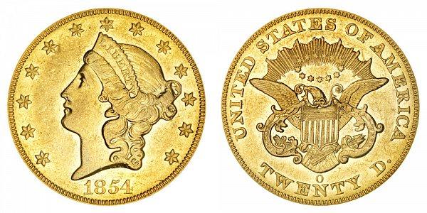 1854 O Liberty Head $20 Gold Double Eagle - Twenty Dollars
