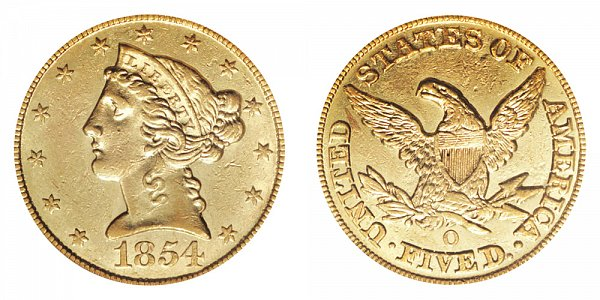 1854 O Liberty Head $5 Gold Half Eagle - Five Dollars
