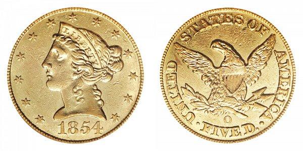1854 O Liberty Head $5 Gold Half Eagle - Five Dollars