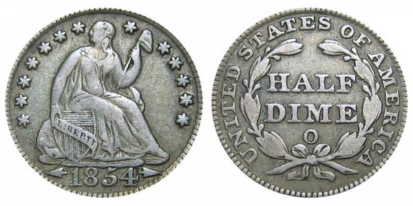 1854 O Seated Liberty Half Dime