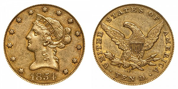 1854 O Small Date - Liberty Head $10 Gold Eagle - Ten Dollars