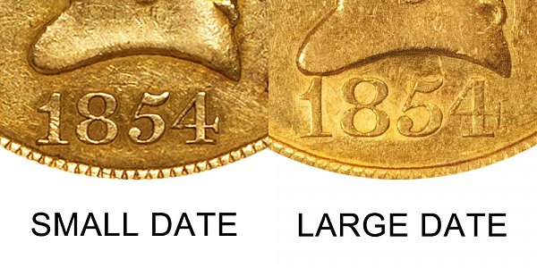 1854 Small Date vs Large Date - $10 Liberty Head Gold Eagle - Difference and Comparison